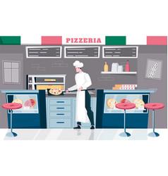 Pizzeria indoor flat composition vector
