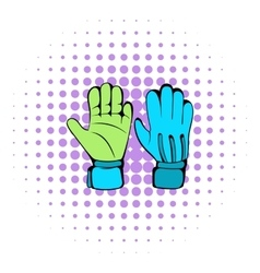Protective soccer gloves icon comics style vector