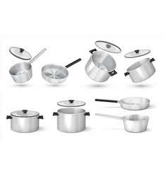 Realistic pan steel cooking pots with cape metal vector