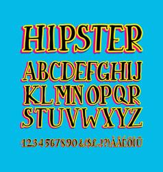 retro stylized bold font and alphabet vector image