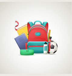 schoolbag with school supplies set vector image