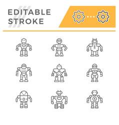 set editable stroke line icons robot vector image