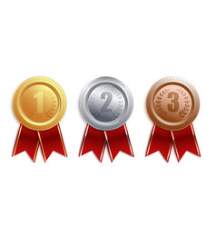 set gold silver bronze badges with red ribbon vector image