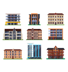 set isolated modern hotel buildings vector image