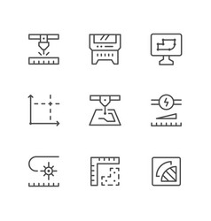 Set line icons of laser cutting vector