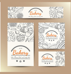 Set of cards with bakery products vector