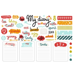 Set of hand drawn sketch elements for diary vector