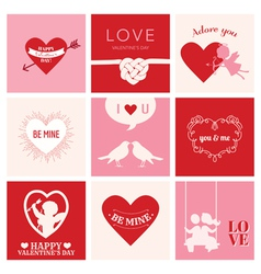 Set of love cards for valentines day vector