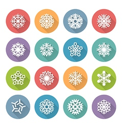 set of simple round snowflakes icons vector image