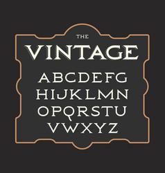 set vintage letters retro latin vector image