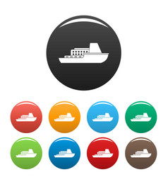 ship cruise icons set color vector image
