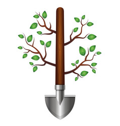 shovel with branches and leaves for garden vector image