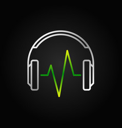 Silver headphone with green music wave vector