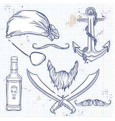 sketch pirate attributes icon vector image