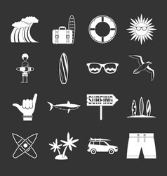 surfing icons set grey vector image