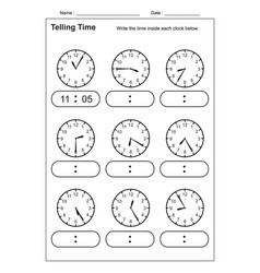 Telling time telling time practice for kid vector