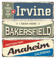 vintage tin sign collection with us cities vector image
