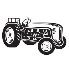 Vintage tractor vector