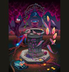 Wishing well in a magic garden vector
