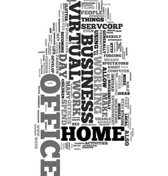 work from home with a virtual office text word vector image