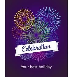 Fireworks celebration card template vector image vector image