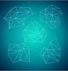 Geometric abstract low-poly shape Blue background vector image vector image