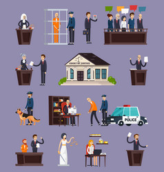 law and justice orthogonal icons set vector image vector image