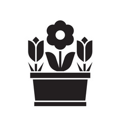 spring flower pot icon vector image vector image