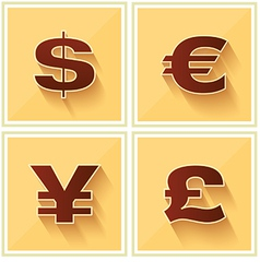 World Currency Symbols Flat Icon Retro vector image