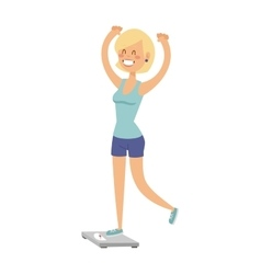 Beautiful slim girl on scales fitness healthy body vector image