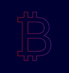 bitcoin sign line icon with gradient from vector image