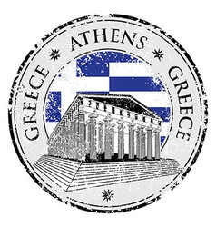 Blue grunge rubber stamp with the Parthenon shape vector image
