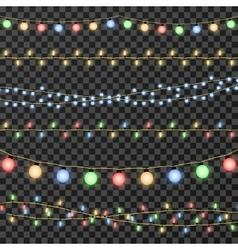 christmas garland lights isolated on vector image