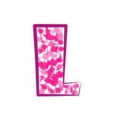 english pink letter l on a white background vector image vector image