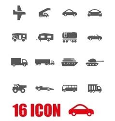 grey vehicles icon set vector image vector image