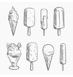 ice cream sketch collection vector image vector image