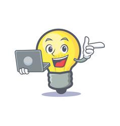 Light bulb character cartoon with laptop vector
