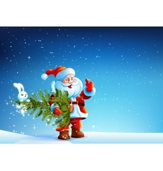 Santa Claus standing in snow and keeps the tree vector image vector image