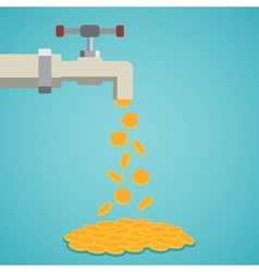 Golden coins fall out of the tap vector