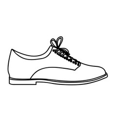monochrome silhouette of male leather shoe with vector image