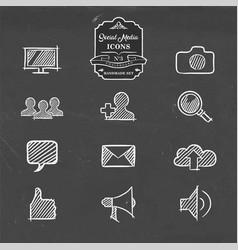 social media hand drawn doodle internet icon set vector image vector image