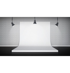 Studio interior with white backdrop vector image vector image