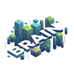three dimensional word brain with abstract green vector image
