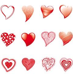 twelve hearts vector image
