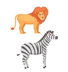 african animals cartoon set lion and zebra vector image