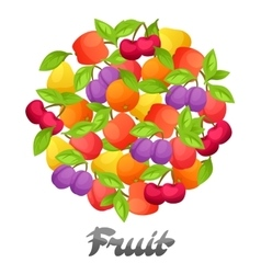 Background design with stylized fresh ripe fruits vector image