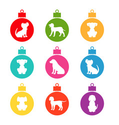 colorful christmas balls with different dogs vector image vector image