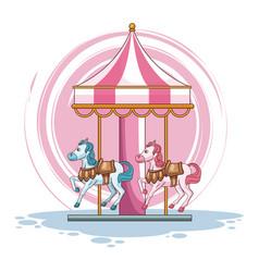 cute carousel cartoon vector image