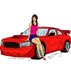 women and car vector image