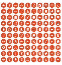 100 athlete icons hexagon orange vector